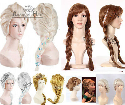 Princess Elsa Wig Hairpins Snowflakes Anna Cospaly Blonde Long Synthetic Hair