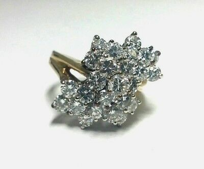 STUNNING 14k Yellow Gold Diamond Ring Round Brilliant Cut 3.32tcw VS, F-G