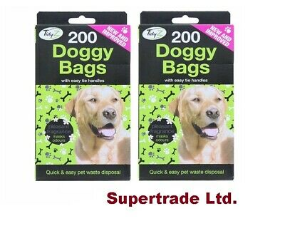 200 Doggy Poo Bags Scented  Dog Puppy Waste Poop Disposal Easy Tie Handle X 2