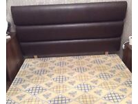 Faux leather dark brown double headboard and bed base