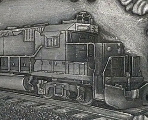 1984 Freightyard Locomotive Belt Buckle Fallen Flag Train Vintage