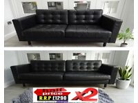 RRP:£1249 2x IKEA LANDSKRONA TWO & THREE SEAT BLACK LEATHER SOFA SUITE LONDON DELIVERY/CHESTERFIELD
