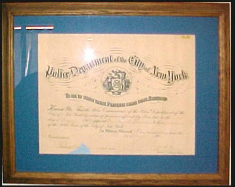 1909 New York NYPD Police Certificate of Appointment Over 100 Years Old