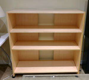 3 Level Wood Shelving Unit with Wheels