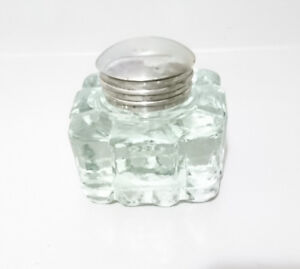 Vintage Clear Cut Glass Inkwell