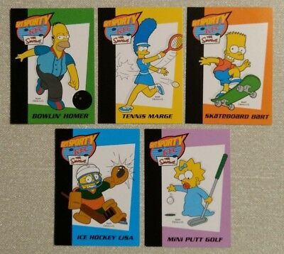 The Simpsons - KFC (UK) 2003 'Get Sporty' Trading Cards - COMPLETE SET OF 5