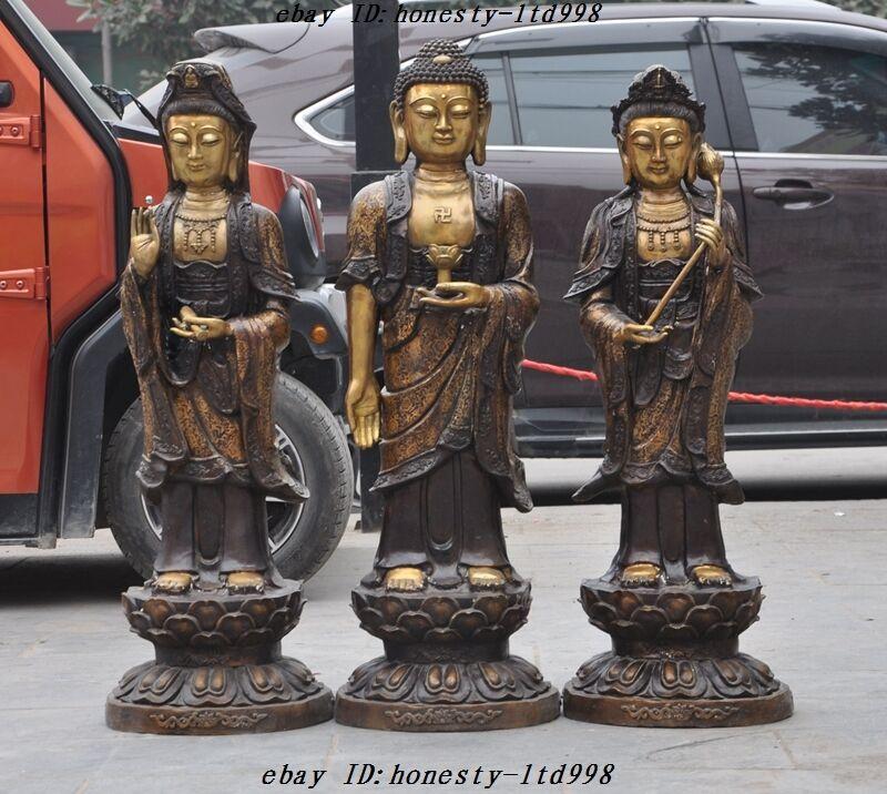 Tibet Temple Bronze Gilt Guanyin Sakyamuni Bodhisattva West 3 Buddha Statue Set