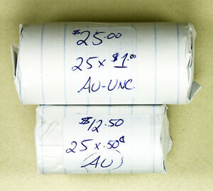 2  UNCIRCULATED ROLLS OF NICKEL 1 DOLLARS & HALF DOLLARS