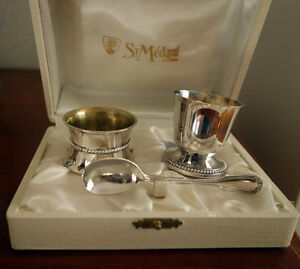 Silver Napkin Ring, Egg Cup & Spoon Set in a Traditional Case Cambridge Kitchener Area image 1