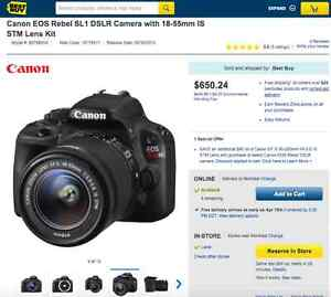 ★NEW Canon EOS Rebel SL1 DSLR Camera with 18-55mm ★514-463-0026★