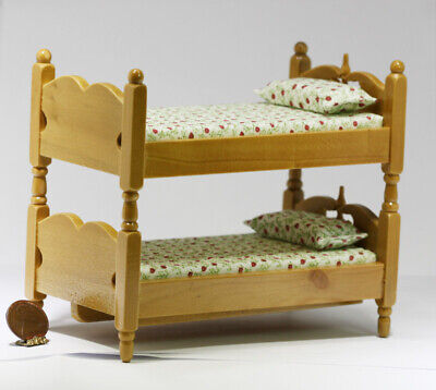 Dollhouse Miniature Oak Wood Bunk Beds with Floral Bedding for sale  Beachwood