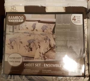 6pcs Bamboo bedsheet set - brand new in plastic