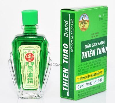 3 Jars 12ml Thien Thao Medicated Oil - Dau Gio Xanh - Cold Flu Cough Headache