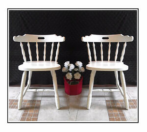 """Like NEW! 2 Lovely Refinished White Oak Chairs, H 29 1/2"""""""