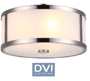 NEW DVI Uptown 3-Light Semi Flush Mount fixture satin nickel