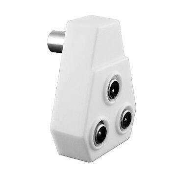 TV Fernseher Antennen Adapter Verteiler Splitter 3 Koax Stecker - 1 Buchse flach