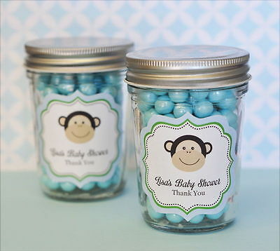 48 Personalized Blue Monkey Theme Mini Mason Jars Baby Shower Favors