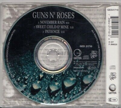 GUNS N' ROSES November Rain 3 TRACK CD MAXI W Sweet Child O' Mine &