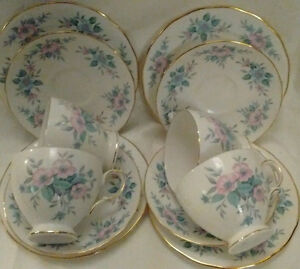 English Tea:Set -Teapot, Cream, Sugar, 6 Cups & Saucers + more