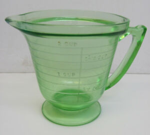 Green Depression Glass 2 cup measure HANDIMAID