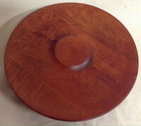 685: Vintage Teak Lazy Susan Spinning Danish Cheese Tray