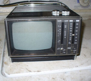 vintage portable miniature black and white radio/television