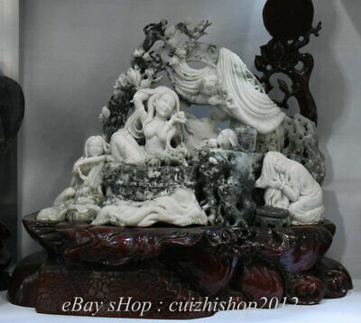 Collectible Decorate Handwork Carving Turquoise Elegant Belle Art Body Statue