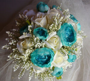 5 Piece Teal/Turquoise & White Wedding Bouquet Flower Package. London Ontario image 4