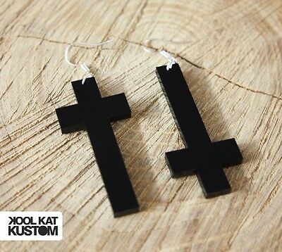 KREUZ Acryl schwarz Ohrringe Cross Hipster Earrings black ♥
