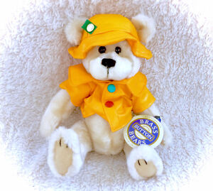 Vintage 1996 Harper Brass Button Bear New With Tags Yellow Rain
