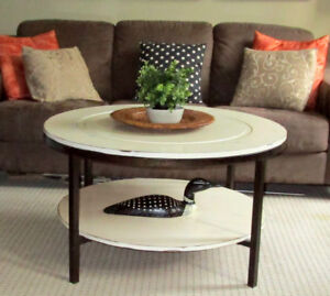 MODERN METAL/WOOD ROUND SHABBY CHIC COFFEE TABLE