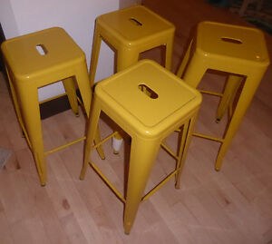 4 BRAND NEW mustard yellow metal bar stools
