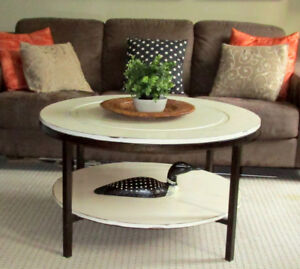 TODAY SALE -MODERN WOOD/METAL ROUND SHABBY CHIC COFFEE TABLE