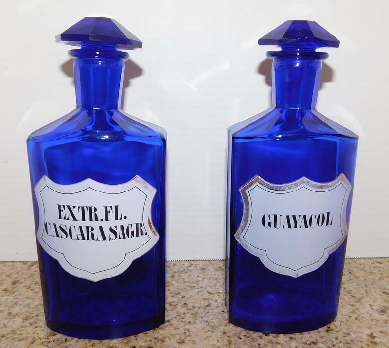 ANTIQUE APOTHECARY PHARMACY JARS, LARGE COBALT GLASS  GUAYACOL/CASCARA SAGR