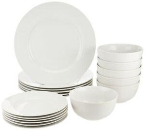 Amazon Basics 18-Piece Dinnerware Set, Service for 6