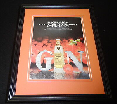 1982 Seagram's Extra Dry Gin 11x14 Framed ORIGINAL Vintage Advertisement