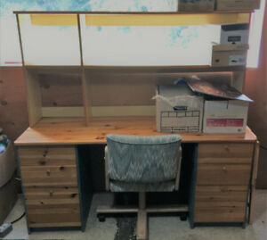 Office or student desk and shelves