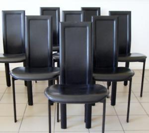 Chaises en cuir de salle à manger (Italie)