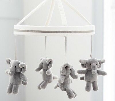 Pottery Barn Kids Harper Elephant  Mobile With Expresso Arm New Nursery Set
