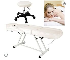 Beauty bed and stool white