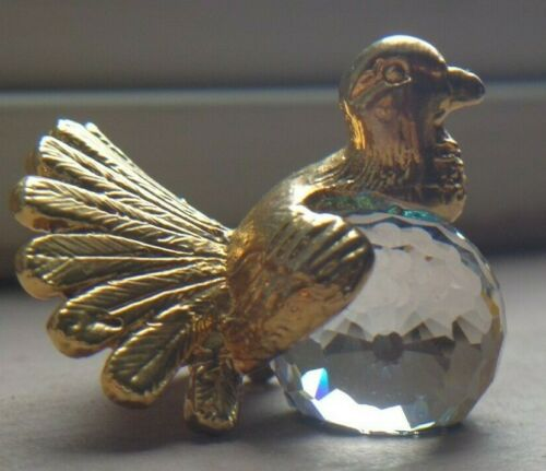 Vintage Miniature Crystal & Gold Plated Turkey or Peacock ~ FREE SHIPPING