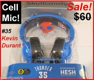 Skullcandy In-Line Mic HESH NBA Thunder #35 Kevin Durant Over Ear Cup Headphones