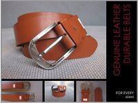 Full Grain Durable Pure Leather Men's Belt - Brown