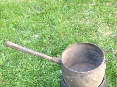 Antique cast iron cooking pot/planter/garden ornament with long handle