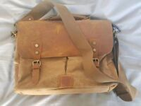(Like New) Leather & Canvas Messenger Bag