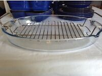 Very Large Pyrex Roasting Roaster Dish with Rack
