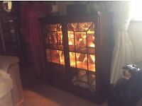 Wooden display cabinet with lights