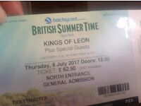 2 Kings of Leon tickets for sale - 6th july at hyde park