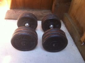 2x30kg metal dumbbells, home gym weights