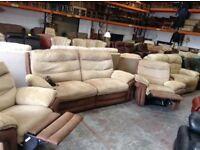 Brown and beige recliner sofa set